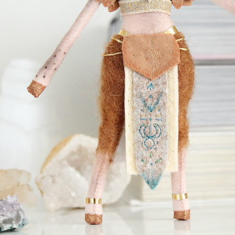 Deer Goddess Doll with Carnelian Gemstone in Her Staff