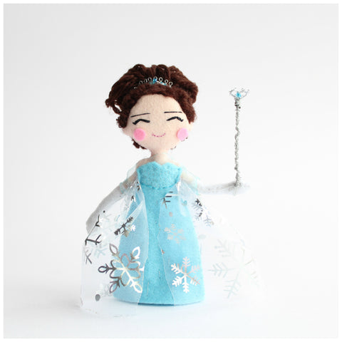 Custom made 14cm art doll. Little girl in Elsa outfit. Frozen animation enthusiast. Keepsake.