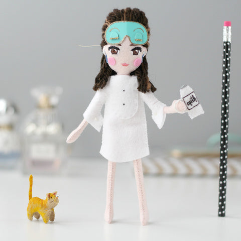 Holly Golightly in Mask with Cat + Milk Bottle