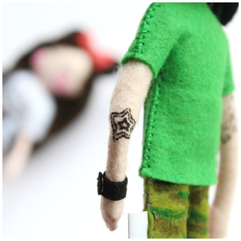 Tattoo. doll with tattoo. felt art doll. painted tattoo