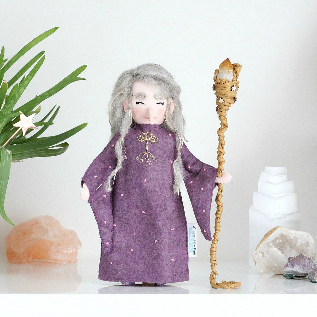 Druid Doll with Citrine Crystal Staff
