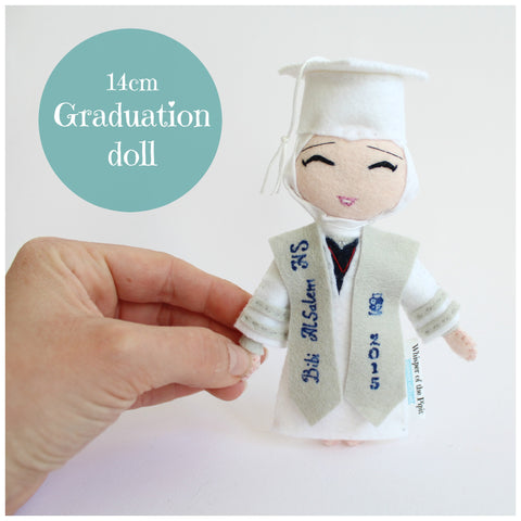 Graduation doll. 14cm art doll to celebrate new chapter in life. Cute doll.