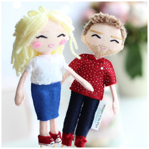 Wedding cake toppers. Bride and Groom art dolls. Wedding art dolls.