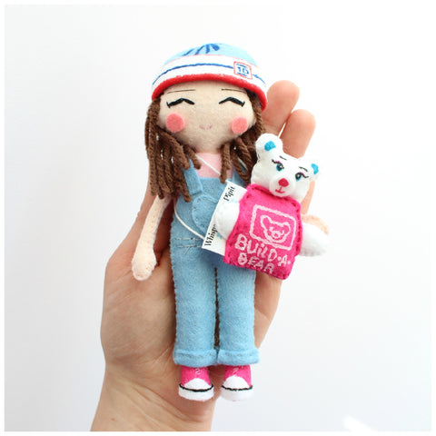 Personalised doll. Custom art doll to look like you or your loved ones. 14cm art doll of a child. felt doll to buy. Doll with build a bear backpack. Little girl doll. Fabric doll.