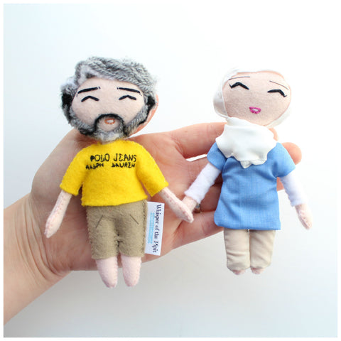 Birthday gift idea. Man with beard and Ralph Lauren t-shirt. Woman in blue top and cream trousers. 14cm art dolls