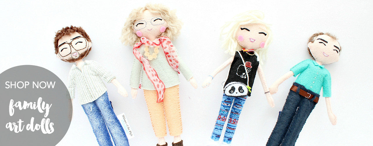 Family portrait art dolls. Made to order family dolls.