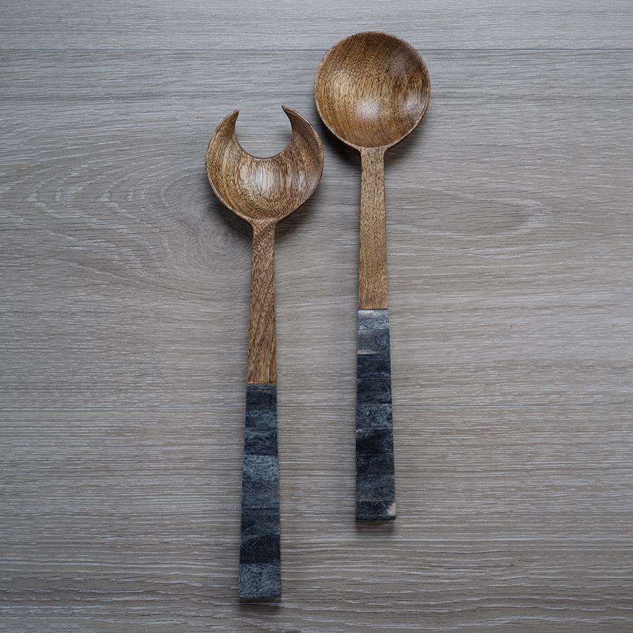Mango Wood Salad Servers with Inlaid Bone Handle - Gray