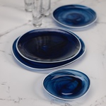 Monte Carlo Alabaster Glass Plate - Indigo - 6.75 Inches