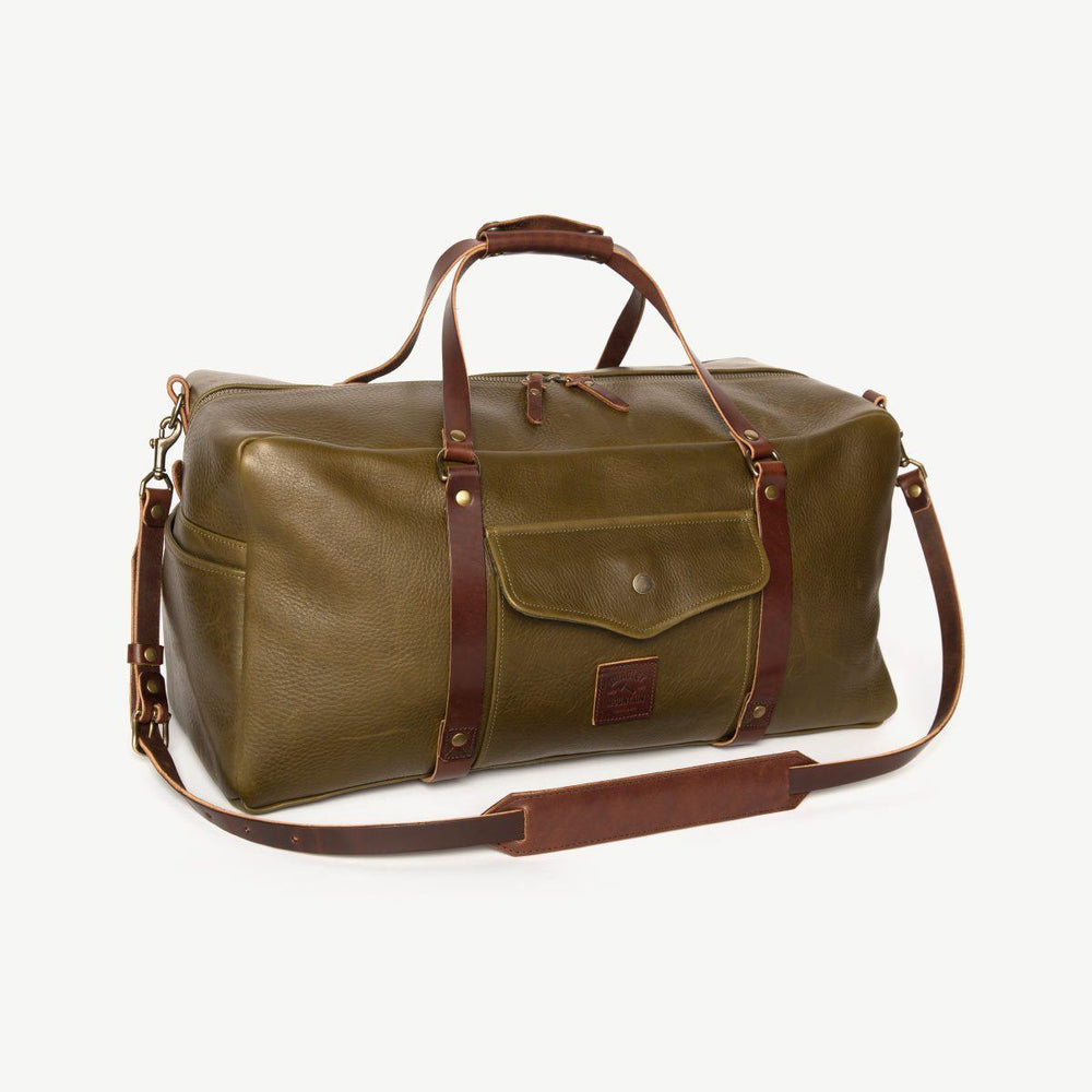 All Leather Square Duffle - Olive