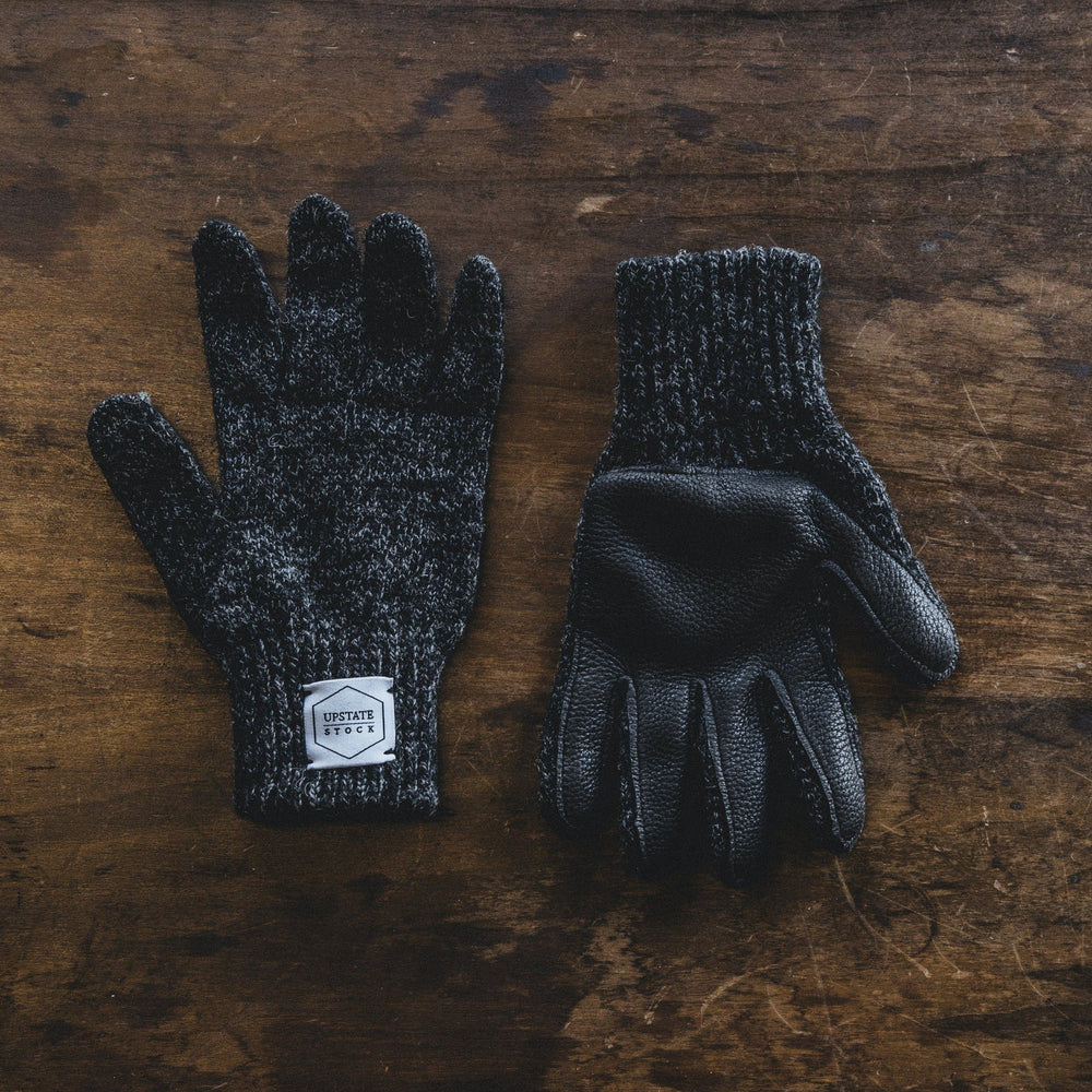 Wool Gloves - Charcoal w/ Black Deerskin Bradley Mountain