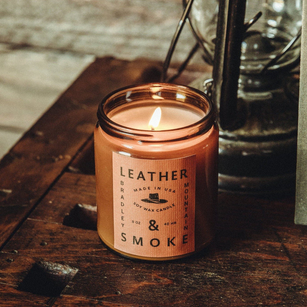 Leather & Smoke Candle Bradley Mountain