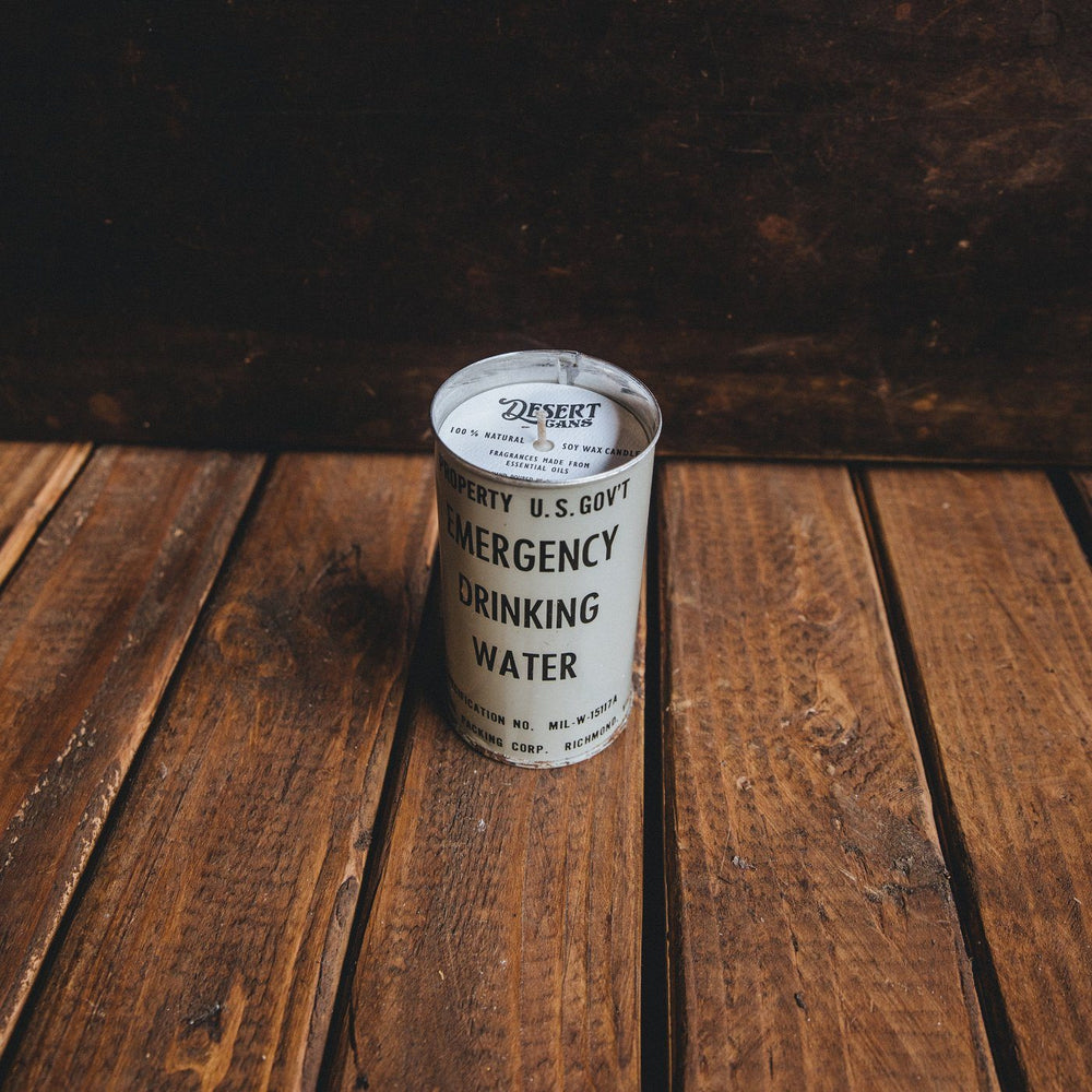 Emergency Drinking Water Can Candle - Black Sea