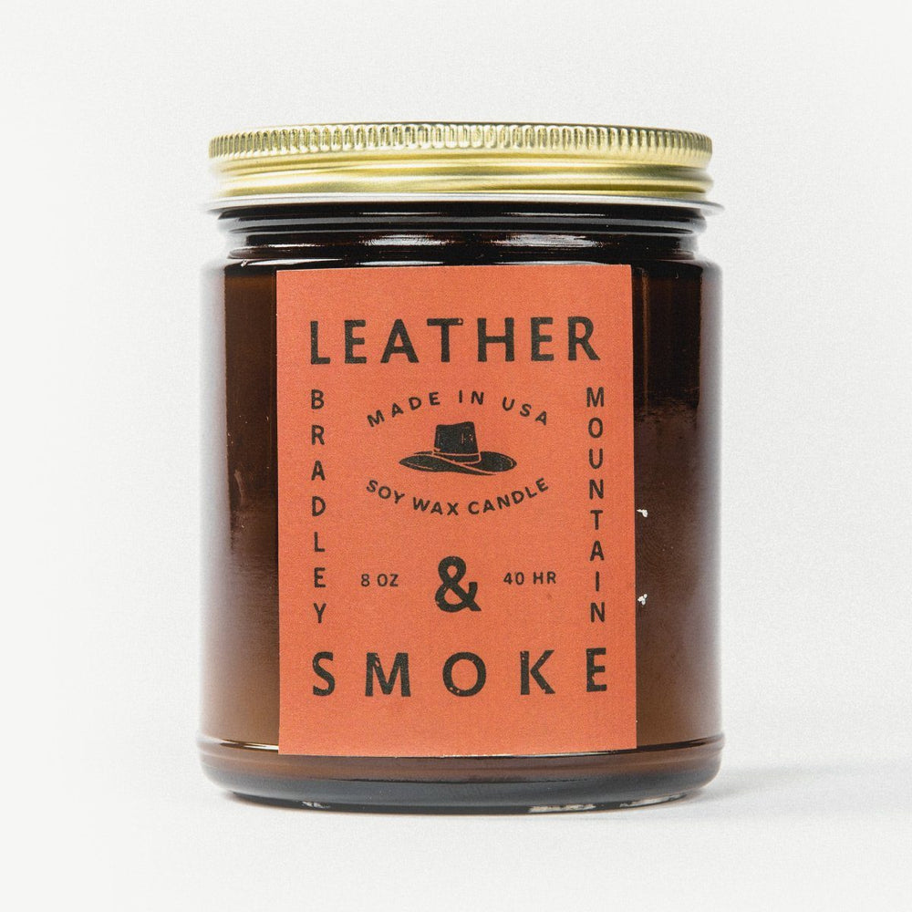 Load image into Gallery viewer, Leather & Smoke Candle Bradley Mountain