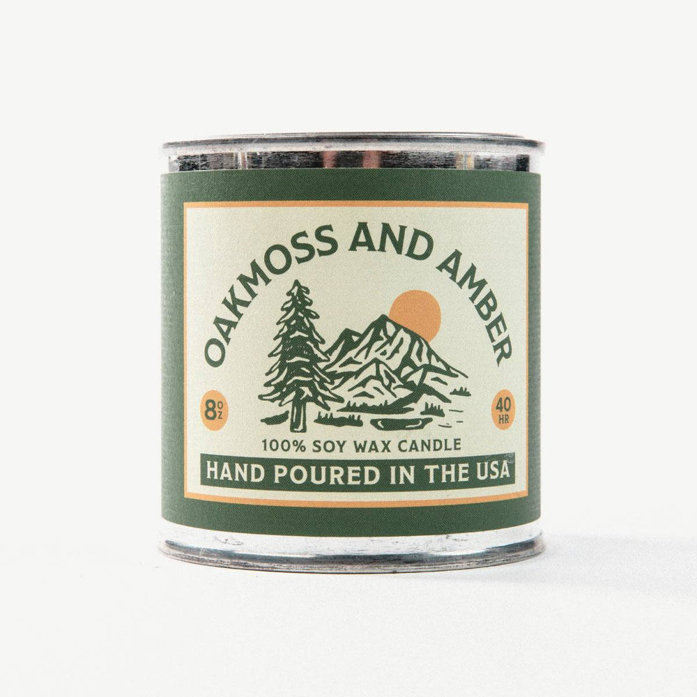 Oakmoss and Amber Travel Candle Bradley Mountain