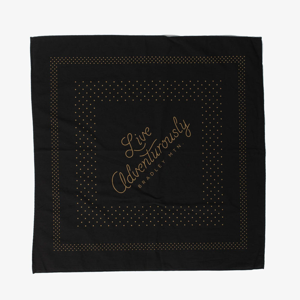 Live Adventurously Bandana - Black/Gold
