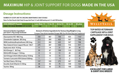 WellyTails Cartilage Hip & Joint Dog Rx Joint Supplement MADE IN USA