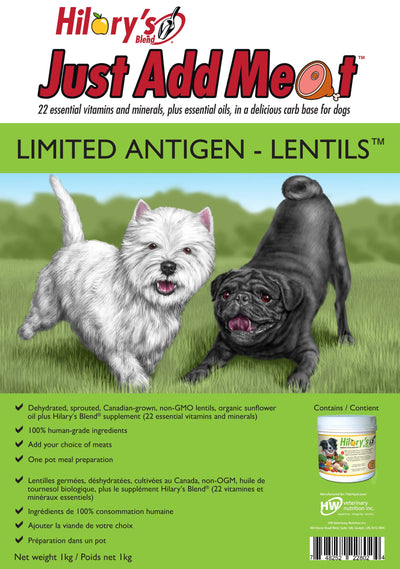 HILARY'S BLEND JUST ADD MEAT™  LIMITED ANTIGEN LENTILS for DOGS - WellyTails Inc.