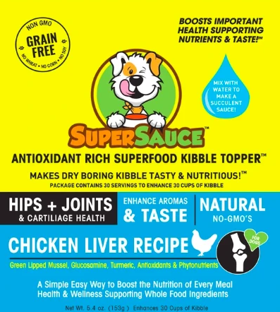 SUPERSAUCE ANTIOXIDANT RICH SUPERFOOD KIBBLE TOPPER - HIP & JOINT SUPPORT CHICKEN LIVER