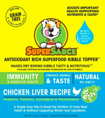 SUPERSAUCE ANTIOXIDANT RICH SUPERFOOD KIBBLE TOPPER - IMMUNITY SUPPORT CHICKEN LIVER