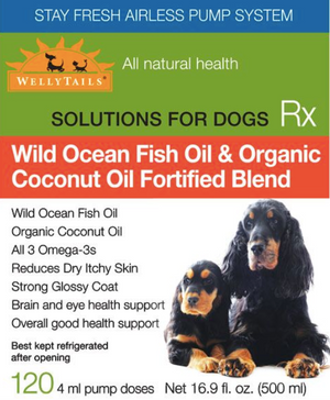 Fortified Wild Ocean Fish Oil & Organic COCONUT OIL Omega-3 Blend Dog Rx  490ml/16.6 fl. oz.