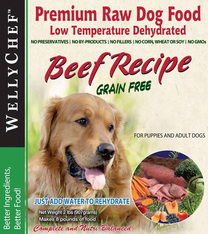 WellyChef Grain Free Premium Raw Dog Food BEEF Recipe Made in the USA - WellyTails Inc.