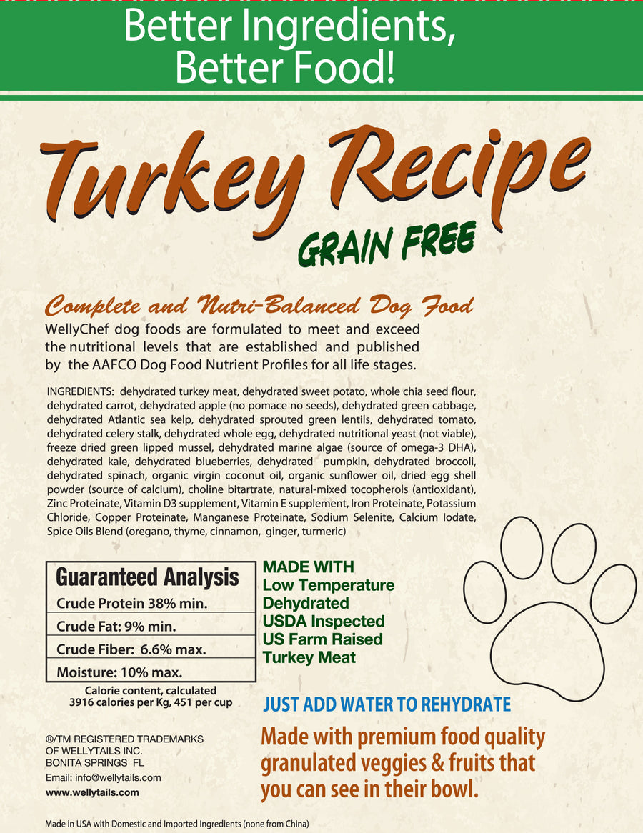 WellyChef Made in USA Raw Dog Food Low Temperature Dehydrated Turkey Recipe - WellyTails Inc.