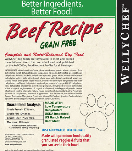 WellyChef  Grain Free BEEF Recipe  Premium Raw Dog Food Low Temperature Dehydrated  4 lbs. (1.81Kg) - WellyTails Inc.