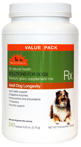 WellyTails Adult Dog Longevity Rx Supplement 1380g/3.04 lbs. (240 x 5.75g scoops) - WellyTails Inc.