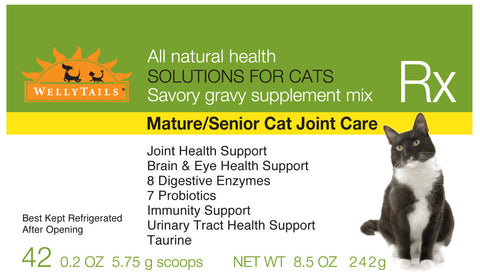 WellyTails Mature / Senior Cat Joint Care Rx Supplement 242g/8.5 oz. (42 x 5.75g scoops) - WellyTails Inc.