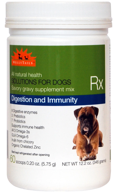 WellyTails Dog Supplement for Digestion and Immune Support with Omega 3 Oil and Probiotics