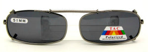 Skinny true rectangle clip-on sunglasses photo