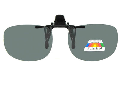 Rectangle Polarized Flip Up Sunglasses Polarized Smoke Gray Lens