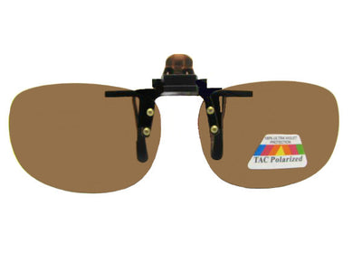 Rectangle Polarized Flip Up Sunglasses Polarized Brown Lenses