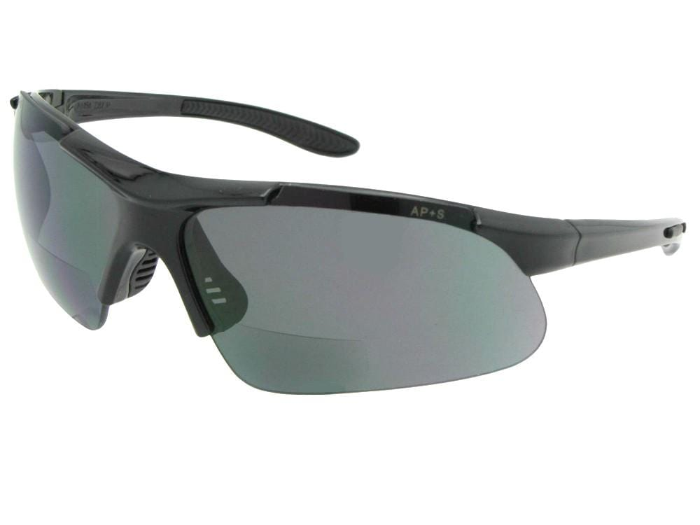 Style B102 Safety Sunglasses With Bifocals Black Frame Gray Lenses
