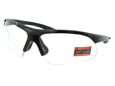 Style B102 Safety Sunglasses With Bifocals Black Frame Clear Lenses