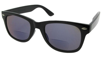 Style B10 Retro Frame With Mirror Lens Bifocal Sunglasses Shiny Black Frame Gray Lens