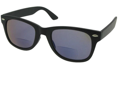 Style B10 Retro Frame With Mirror Lens Bifocal Sunglasses Flat Black Frame Gray Lens