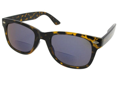Style B10 Retro Frame With Mirror Lens Bifocal Sunglasses Tortoise Frame Gray Lens