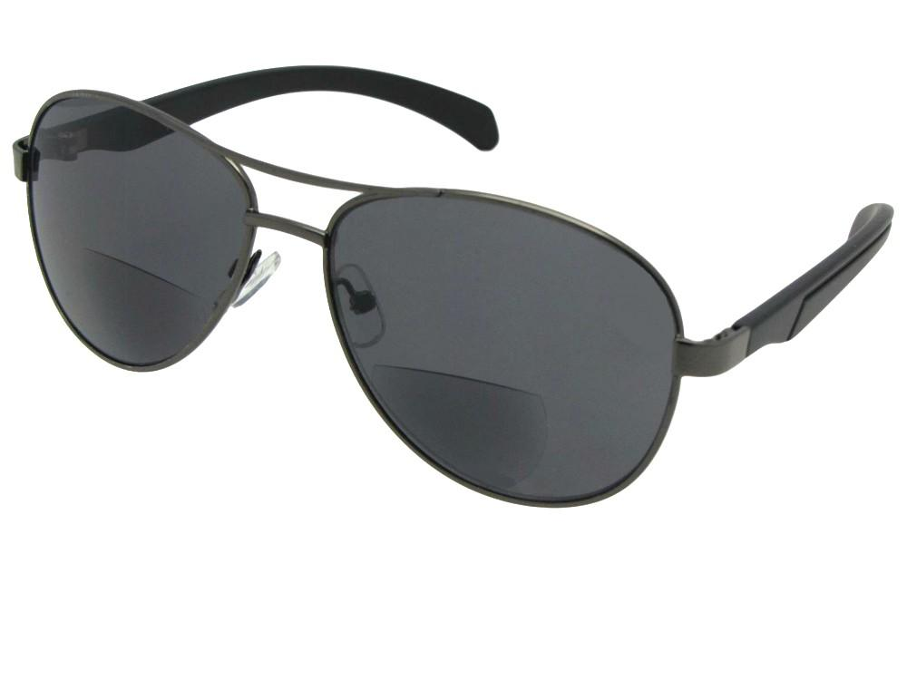 Style B117  Stylish Aviator Bifocal Sunglasses Pewter Frame Gray Lenses