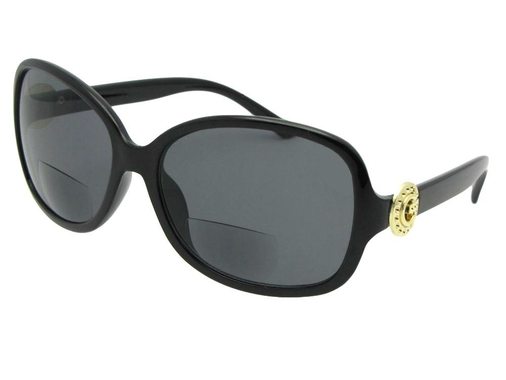 Style Womens Fashion Bifocal Sunglasses  Black Gold Logo Gray Lens