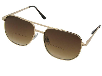 Square Metal Frame Bifocal Sunglasses Style B14