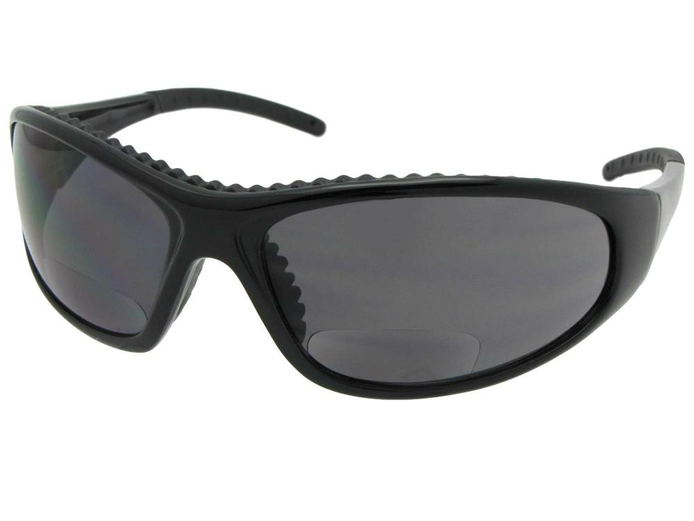 Style B29 Riding Sunglasses With Bifocals Shiny Black Frame Gray Lenses