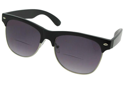 Style B38 Big Retro Frame Bifocal Sunglasses Black Frame Gray Lenses