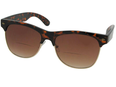 Style B38 Big Retro Frame Bifocal Sunglasses Tortoise Frame Brown Lenses