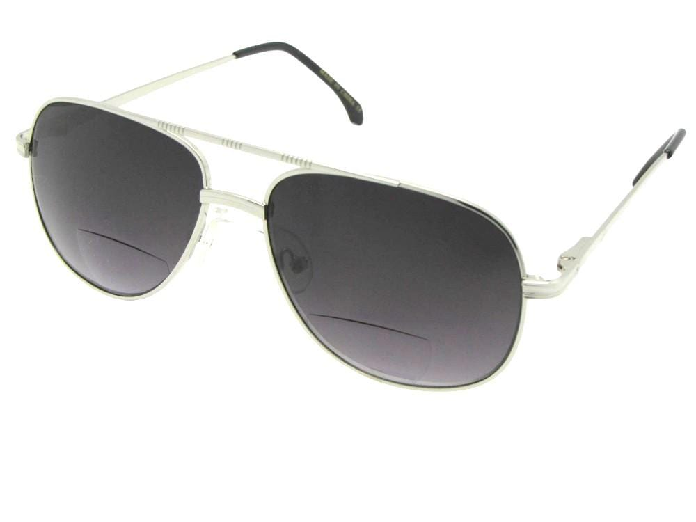Style B50 Square Aviator Bifocal Sunglasses Silver Frame Gray Lens