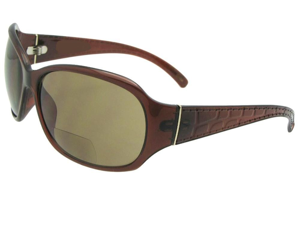 Style B56 Women's Fashion Optical Quality Bifocal Sunglasses Brown Frame Brown Lenses