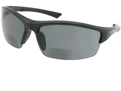 Semi Rimless Wrap Around Bifocal Sunglasses Style B76