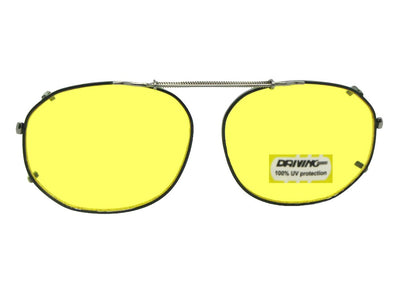 Round Square Yellow Lenses Clip-on Sunglasses Black Frame Yellow Lenses