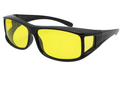 Style F11 Wrap Around Yellow Lens Polarized Fit Over Sunglasses Black Polarized Light Yellow Lens