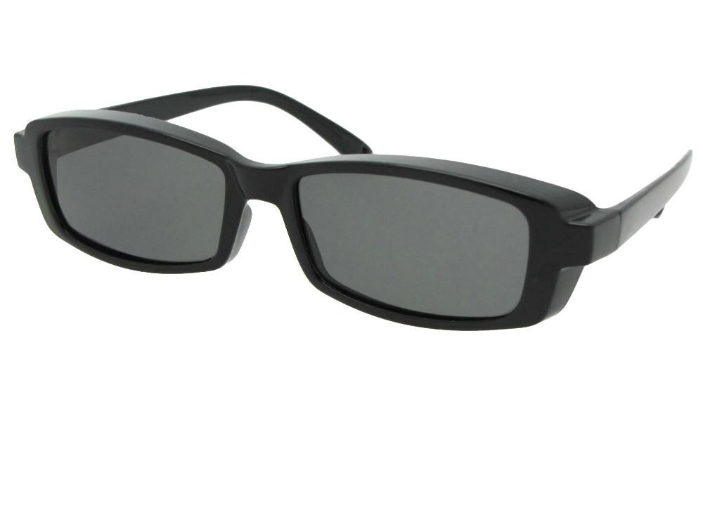 Style F12 Smallest Rectangular Fit Over Sunglasses Black M Dark Gray Lenses